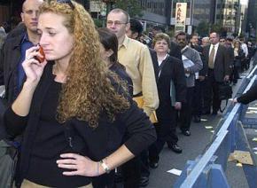 An unemployment line in Chicago