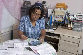 Home health care worker Virginia Burton pays her bills