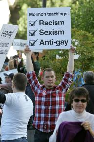 Thousands of people protested the passage of Prop 8 on the steps of the capitol building in Sacramento