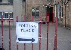 A polling place before Election Day gets underway