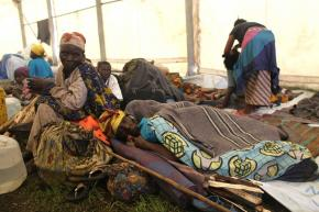 Congolese refugees take shelter in a camp in the town of Kibati, near the city of Goma