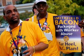 Supporters of the UFCW's Smithfield Foods campaign demonstrate in Atlanta