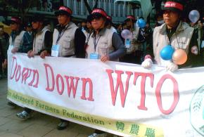 South Korean farmers protest a meeting of the World Trade Organization