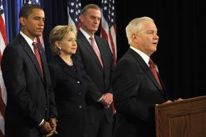 Barack Obama's picks for his administration include HIllary Clinton, James Jones and Robert Gates (speaking)