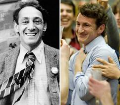 Left, Harvey Milk; right, Sean Penn who stars as Milk in a new film