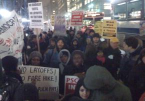 Hundreds of people rallied outside the Metropolitan Transportation Authority headquarters