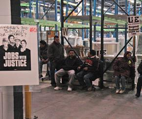 Workers inside the occupation of the Republic Windows & Doors factory