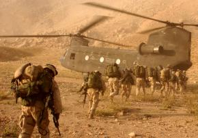 U.S. soldiers deployed on a mission in Afghanistan returning to their Kandahar airfield