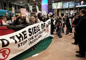 Protesters occupy the BBC Scotland headquarters