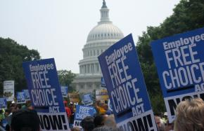 Rallying for the Employee Free Choice Act in front of the Capitol