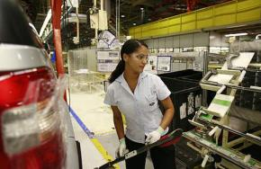 An autoworker in Brazil's Camacari plant.