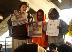 Nearly 1,000 people turned out to protest the murder of Oscar Grant by a BART police officer