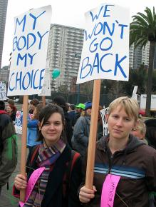 Marching in support of abortion rights in San Francisco