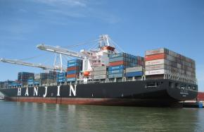 A cargo ship in the Port of Oakland