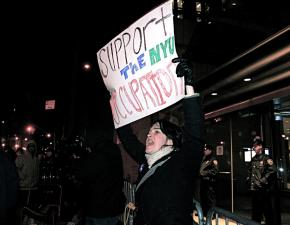 Supporters rallied outside during the NYU student occupation