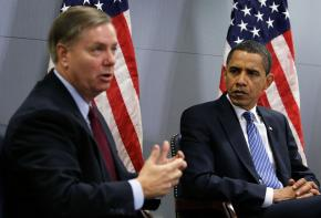 Republican Sen. Lindsey Graham meets with President Barack Obama