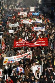 A mass march in Marseille, France, on the day of a general strike of public-sector workers