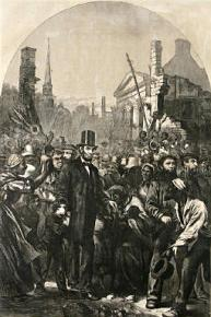 Lincoln's visit to the conquered Confederate capital of Richmond, Va., where he was met by jubilant freed slaves