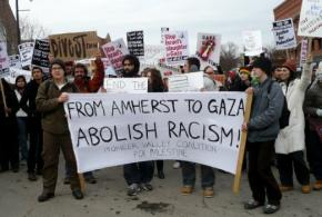 A range of organizations came out in Amherst, Mass., on February 7 in solidarity with the people of Gaza