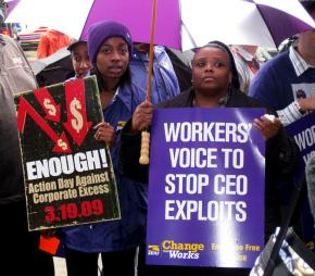 Protesting outrageous bonuses for AIG employees