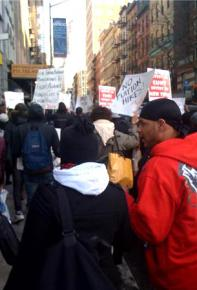 Protesting proposed budget cuts in New York City