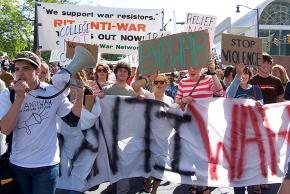Members of the Campus Antiwar Network on the march at a Rochester, N.Y., antiwar demonstration