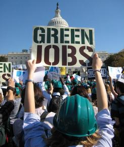 A 2007 protest demanding green jobs in front of the Capitol in Washington, D.C.