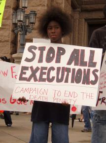 Demonstrating against the death penalty in Austin, Texas