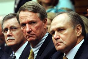 UAW president Ron Gettelfinger, former GM CEO Rick Wagoner, and Chrysler CEO Robert Nardelli during a recent congressional hearing
