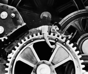 Chaplin dramatizes the demeaning life of industrial workers in the 1936 film Modern Times