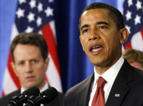 President Barack Obama with Treasury Secretary Tim Geithner