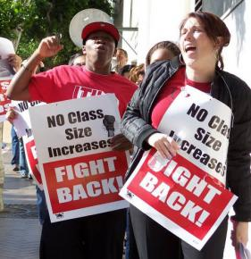 UTLA members rally in April 2009 against budget cuts and layoffs