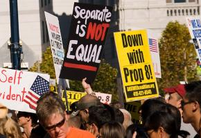A demonstration against Prop 8 in the days following its passage in November