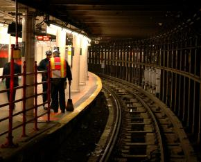 Working on a subway platform in New York City