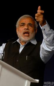 Narendra Modi, the Chief Minister of Gujarat, who oversaw violent communalist attacks there