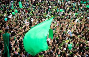 Supporters of former Prime Minister Mir Hossein Mousavi at a rally in Tehran
