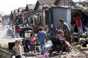 Roma families living in a camp outside Podgorica in Montenegro