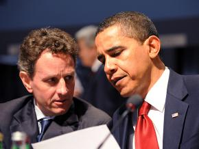 Barack Obama with Treasury Secretary Tim Geithner