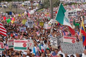 Marching for immigrant rights in Los Angeles on May Day 2006