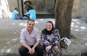 Abdullah and Annette on a street in Cairo