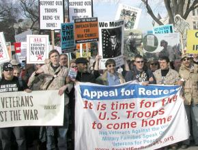 Antiwar veterans and service members on the march against the war in Iraq in 2007