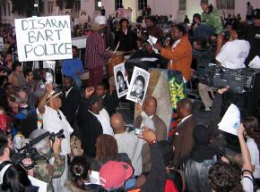 Demonstrators gather in Oakland to demand justice for Oscar Grant III