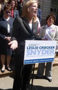 Former Judge Leslie Crocker Snyder giving a campaign speech in her run for District Attorney