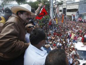 Manuel Zelaya addressing supporters from the balcony of the Brazilian embassy in Tegucigalpa