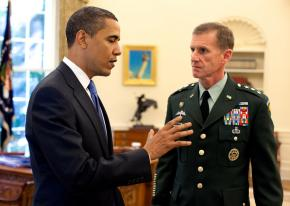 President Obama meets with Gen. Stanley McChrystal in the Oval Office
