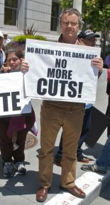 Protesting deep cuts to social services in the California state budget