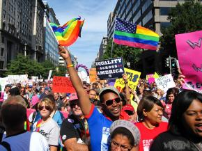 Hundreds of thousands marched for full LGBT equality at the National Equality March in Washington, D.C.