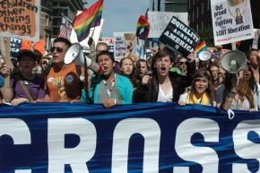 Marching for LGBT rights at the National Equality March