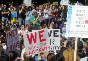 Thousands turned out on Sproul Plaza at UC Berkeley for a September 24 walkout by faculty, staff and students
