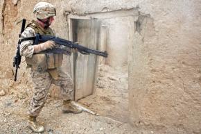 U.S. soldier on a patrol in Afghanistan's Helmand province